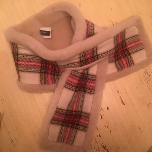 J Crew Shearling and wool plaid scarf
